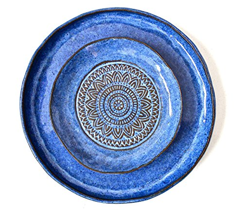 Handmade Pottery Plates Set – Organic Shape Textured Plates – Hand Shaped Stoneware Plates set- Stoneware Serving Plates in Aztec Blue