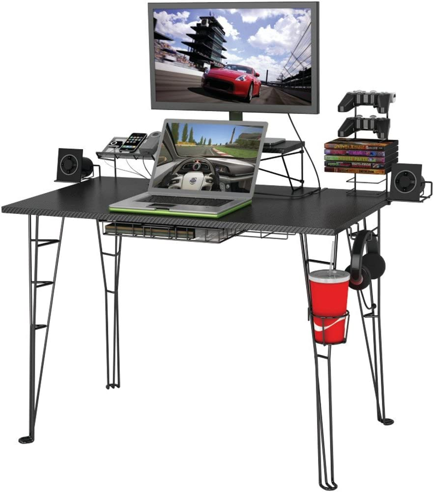 Atlantic Original Gaming Desk with 32″ Monitor Stand, Charging Station and Gaming Storage