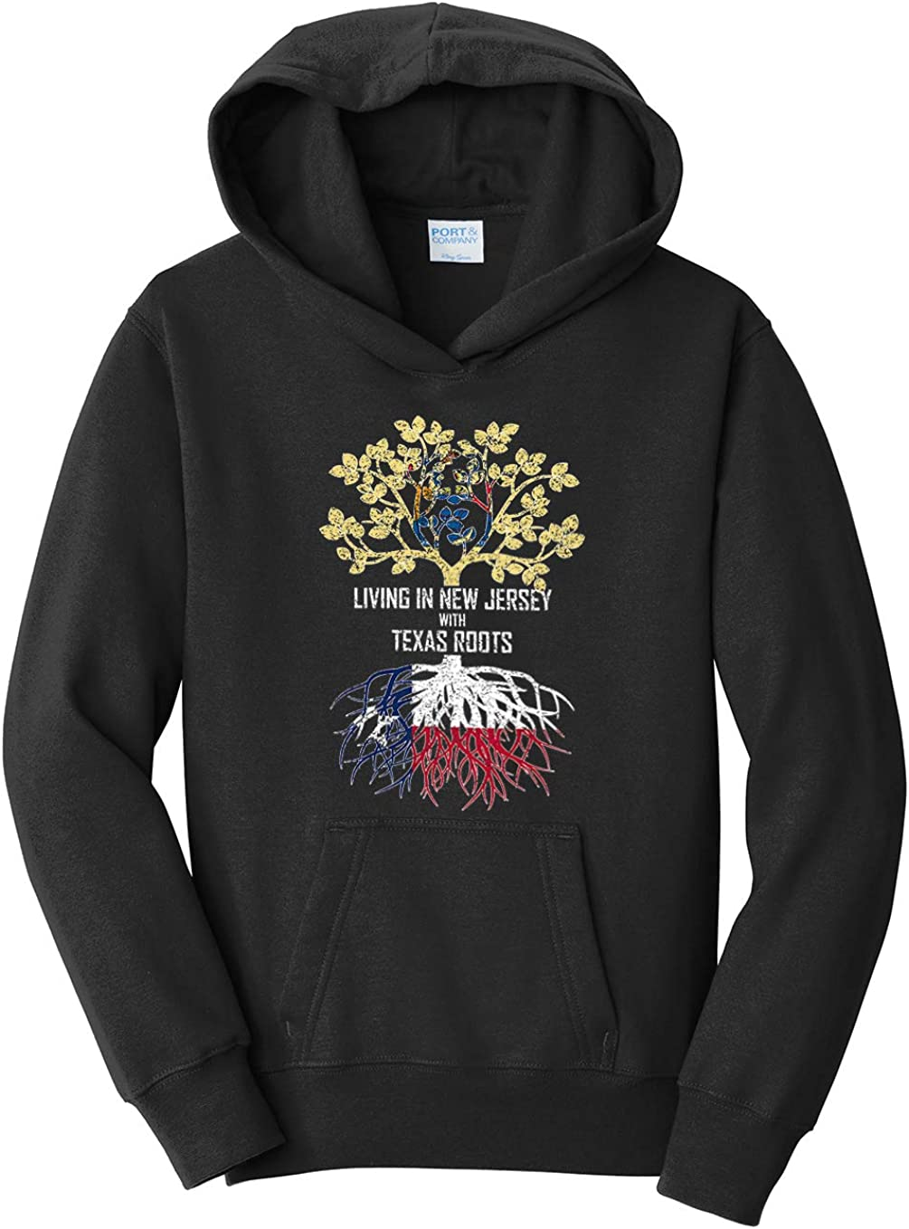Tenacitee Girls Living in New Jersey with Texas Roots Hooded Sweatshirt