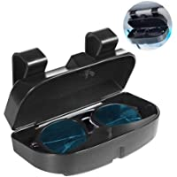 Number-One Car Visor Sunglass Case Holder Clip, Eye Glasses Storage Box with Double Card Slots Car Sunglasses Organizer…