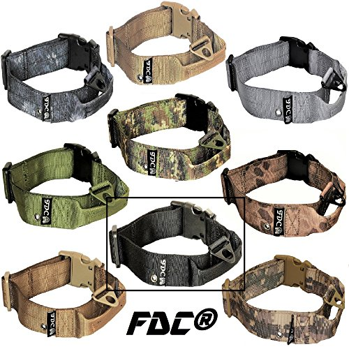 FDC Dog Tactical Collars with Handle HEAVY DUTY Training Military Army WIDTH 1.5in Plastic Buckle TAG HOLE Medium Large M, L, XL, XXL (XXL: Neck 20