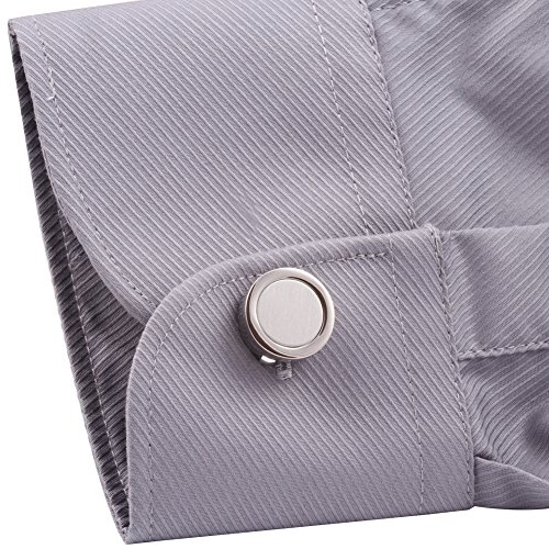 Hj men 39 s jewelry cuff link round button cover color silver for Mens dress shirt button covers