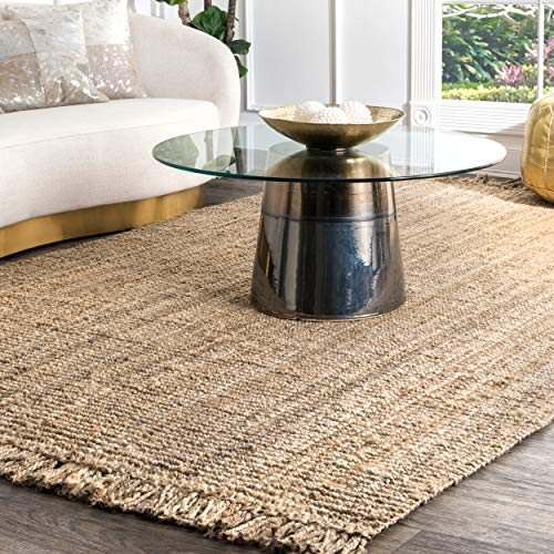 """nuLOOM NCCL01 Natura Collection Chunky Loop Jute Casuals Natural Fibers Hand Woven Area Rug, 7' 6"""" x 9' 6"""" , Beige"""