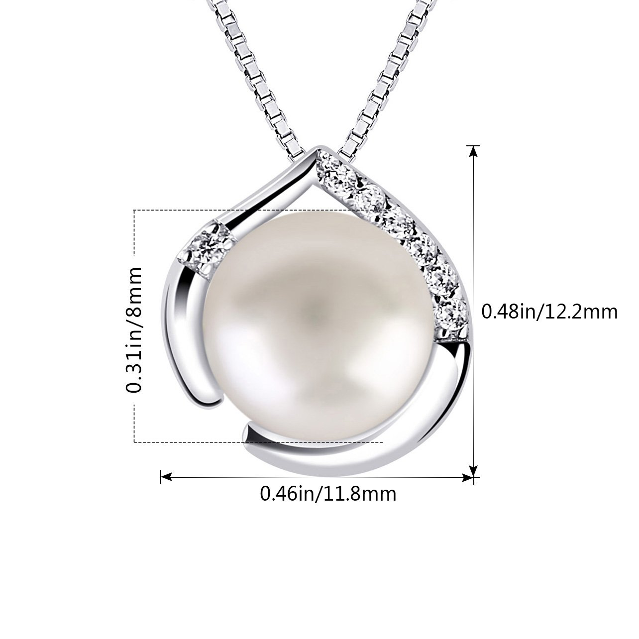 Collana in argento 925/con pendente a forma di cuore con perla dacqua dolce B.Catcher