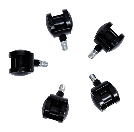 VHPL VCW004 Nylon and Plastic Casters Chair Wheels (Black, 5- Pieces)