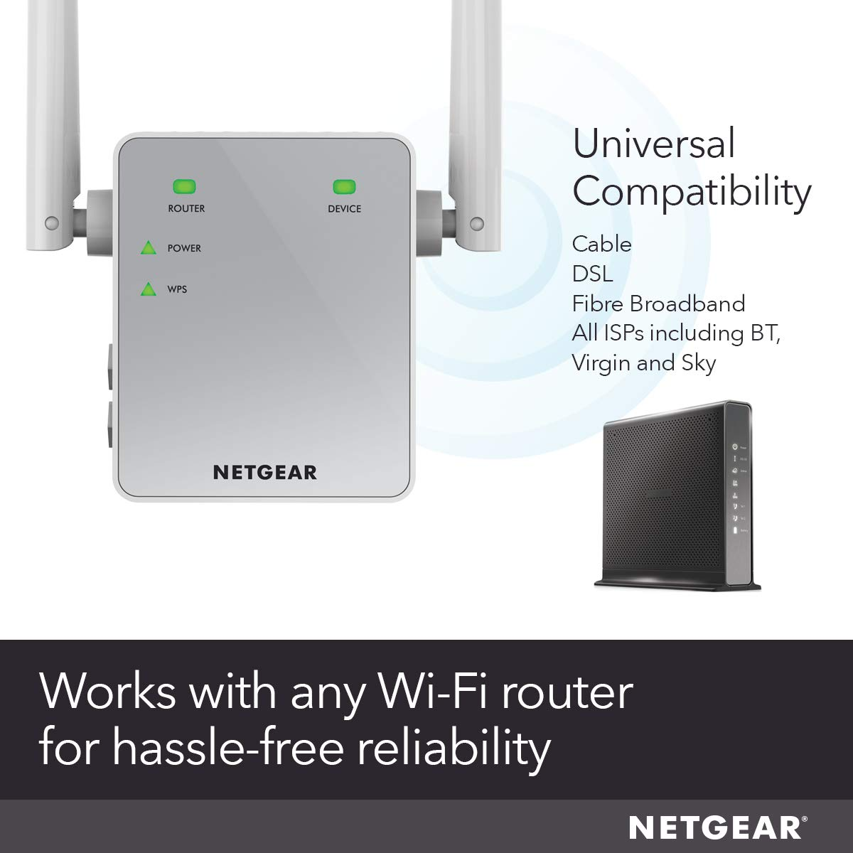 NETGEAR Wi-Fi Booster Range Extender EX3700 - Coverage Up-to 1000 sq ft and  15 Devices with AC750 Dual Band Wireless Signal Repeater (Up-to 750 Mbps)