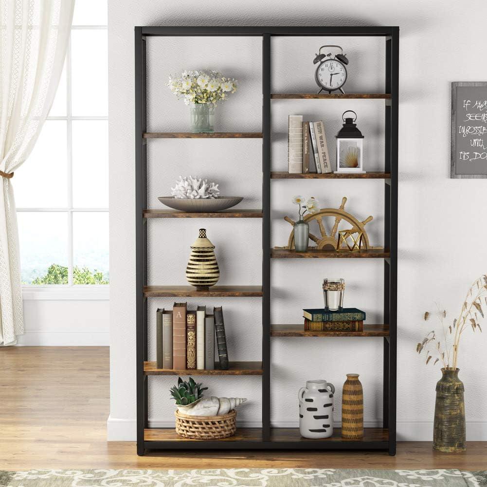 Bookcase 10-Open Bookshelf Etagere Rustic Vintage Display Storage Organizer