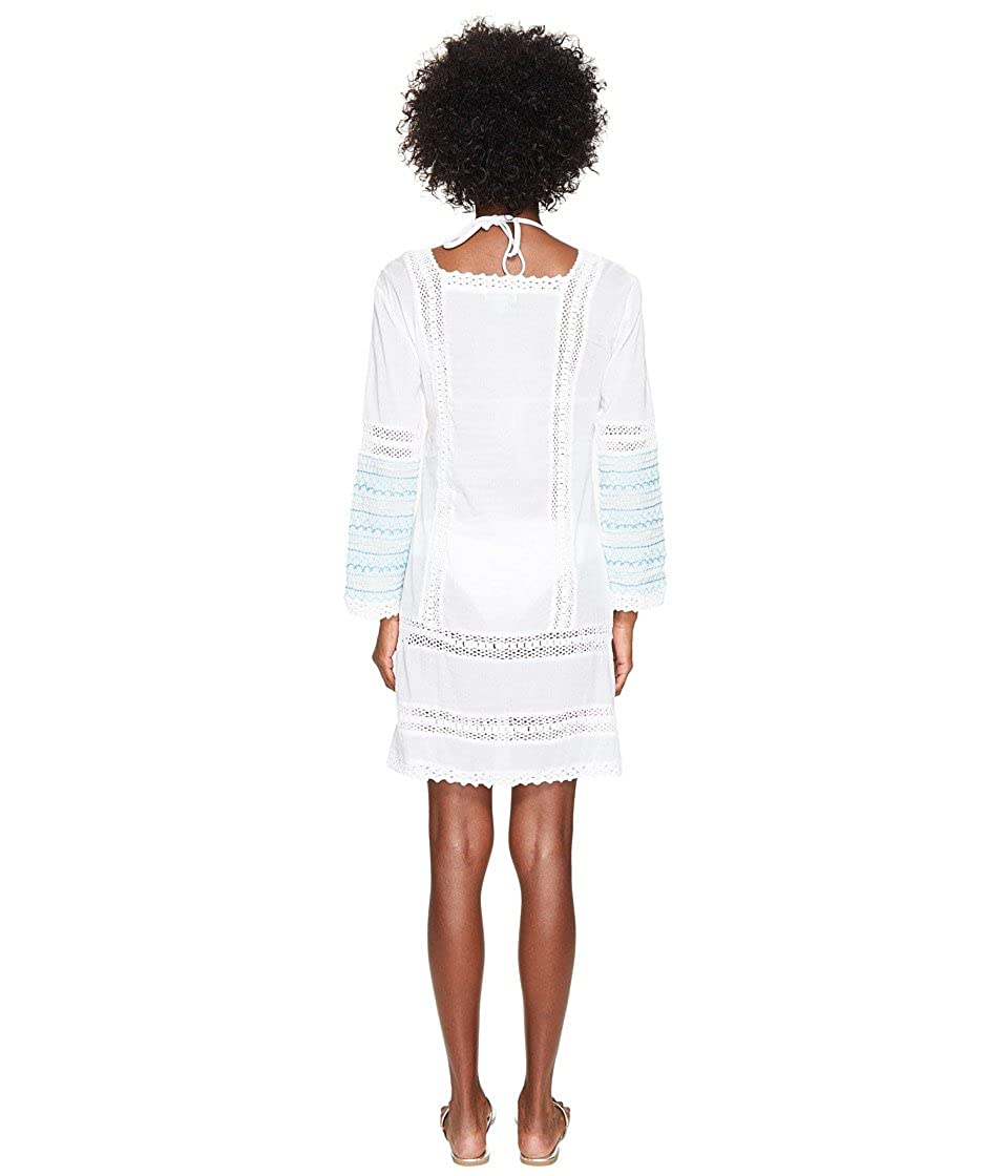 9f6a8e0498df6 Letarte Women s Embroidered Long Sleeve Tunic Dress White Multi Swimsuit Top  at Amazon Women s Clothing store