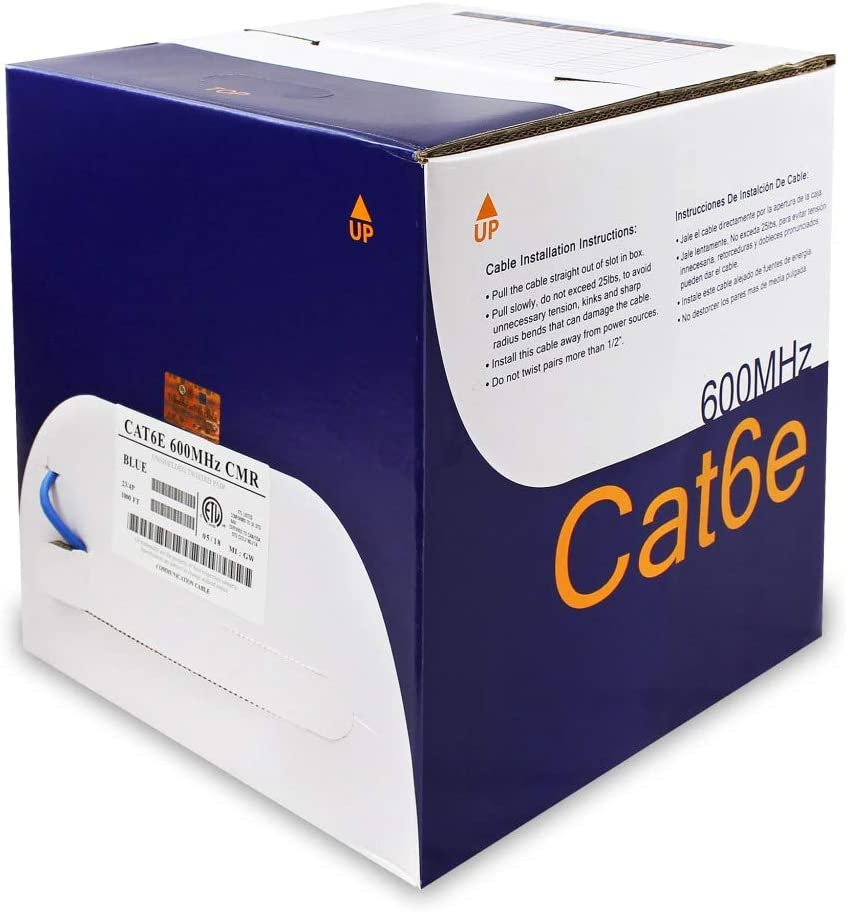 ETL 23AWG 600MHz CMR NetStrand 1000ft Solid Cat6e Cable