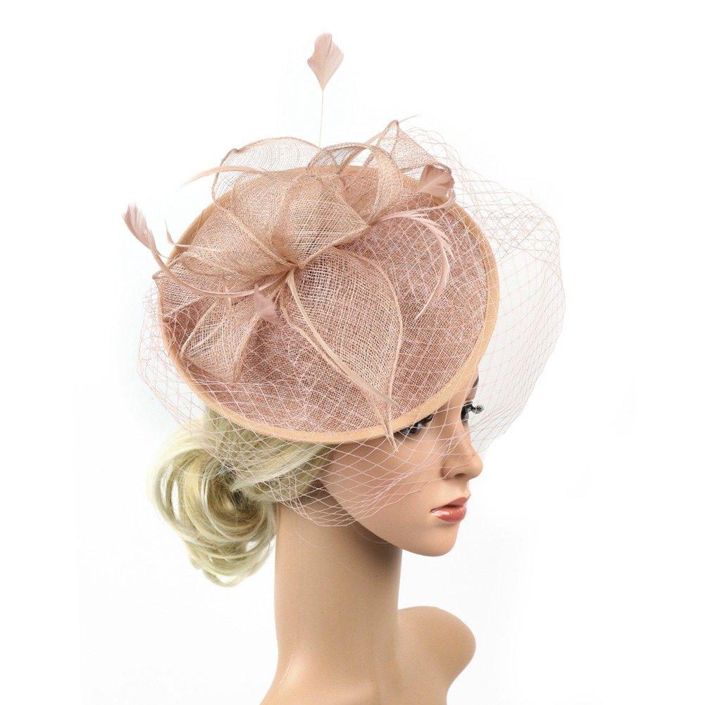 ACTLATI Fascinators Hat for Women Tea Party Headband Sinamay Mesh Feathers Headwear