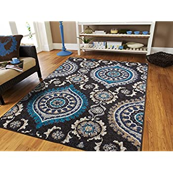 Amazon.com: Luxury Black Modern Rugs For Living Room Contemporary ...