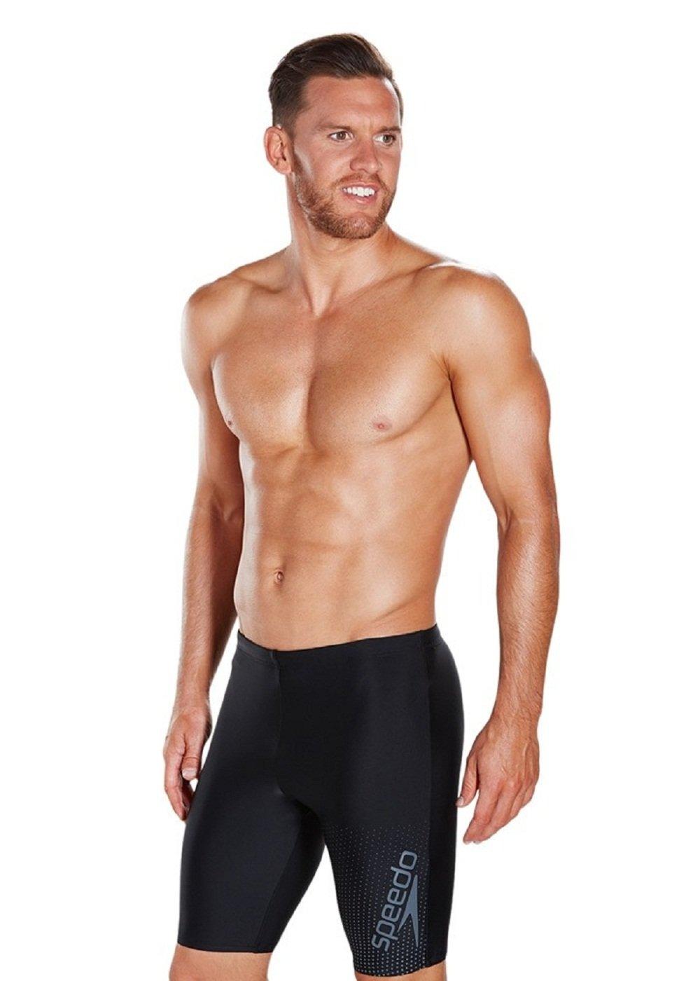 Speedo Men's Gala Logo Jammer Swimsuit (Black/USA Charcoal, Size 36) by Speedo