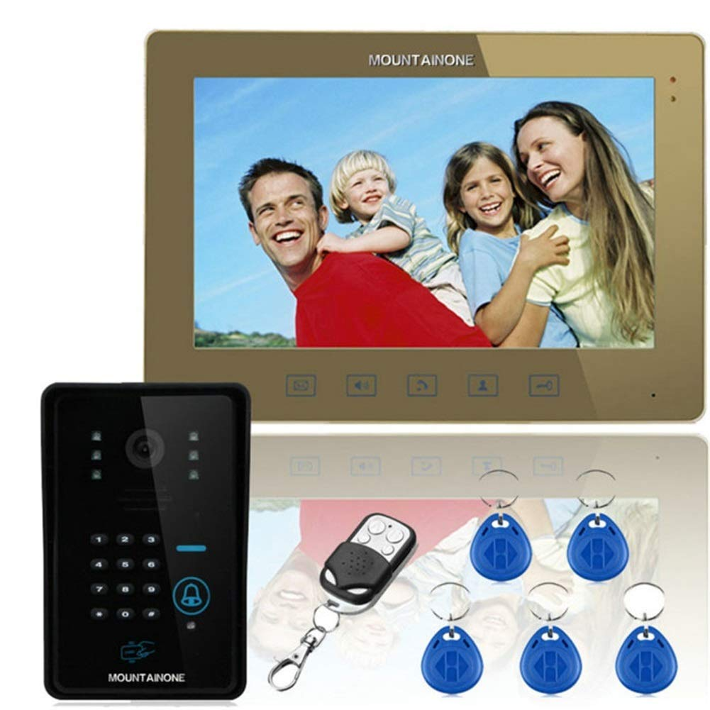Video Doorbell,Touch Key 10 LCD RFID Password Video Door Phone Intercom System with Infrared Camera 1000 TV Remote Line