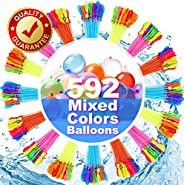 FEECHAGIER Water Balloons for Kids Girls Boys Balloons Set Party Games Quick Fill 592 Balloons 16 Bunches for