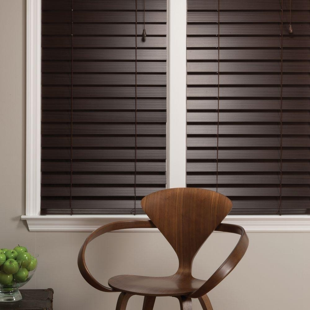 Ultra Premium Espresso Brown 2-1/2'' (2.5'') Inch Faux Wood Blind 70'' W x 48'' L - Custom Cut Fast Shipping