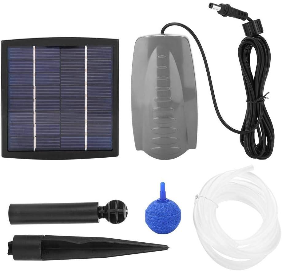 Bomba de agua con energía solar, aireador de aire y piedra con aire Aerógeno Bomba de agua con oxigenador de estanque con energía solar para bebedero para pájaros Pequeño estanque Decoración de jardín