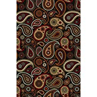 Maxy Home Hamam Paisley Black 8 ft. 2 in. x 11 ft. Rubber Backed Area Rug