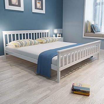 cfb6f589f4 Festnight Bettgestell Holz Bett Modern Holzbett Doppelbett Massivholzbett  mit Lattenrost Kiefer Massiv, Weiß 180 x
