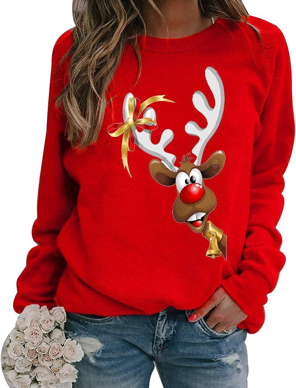 Teenager M/ädchen Weihnachtspulli Rentier Elch Hirsch Lustig Weihnachtspullover Merry Christmas Langarm Sweatshirt Xmas Pulli Langarmshirt Oberteile Shirt Tops Weihnachten Pullover Damen