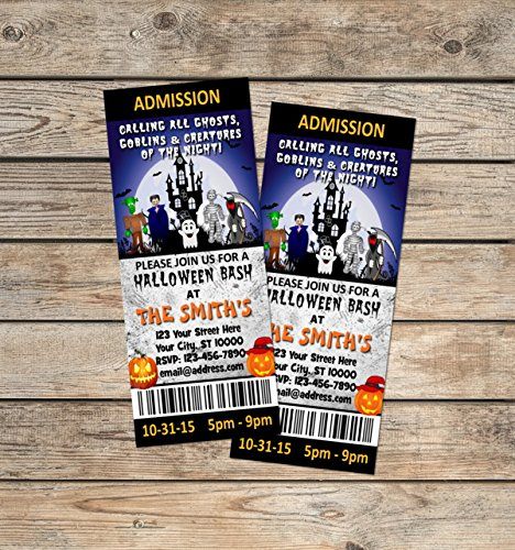 Halloween Party Ticket Invitations, Haunted House Halloween Birthday Party  Ticket Invitation, Custom Halloween Costume  Party Ticket Invitations