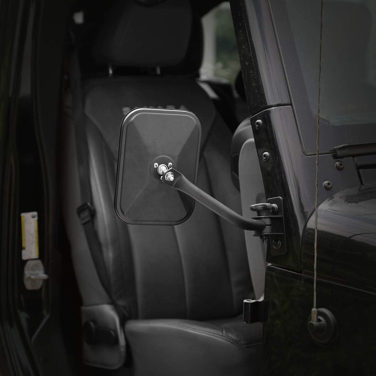 LJ Seven Sparta Doors Off Mirrors for Jeep Wrangler TJ 1 Pair of Quick Release Mirrors Black JK