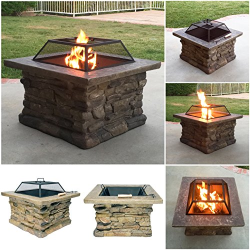 Cheap Fire Realm Elegant 29″ Outdoor Patio Firepit w/ Iron Bowl, Stone Base, Mesh, Pit