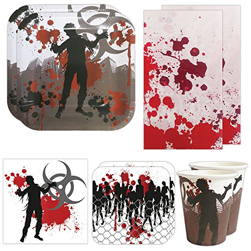 Blue Orchards Zombie Deluxe Party Packs (70 Pieces for 16 Guests!), Zombie Party Supplies, Halloween Party -