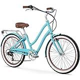 "sixthreezero EVRYjourney Women's 7-Speed Step-Through Hybrid Cruiser Bicycle, 26"" Wheels and 17.5"" Frame, Teal with…"
