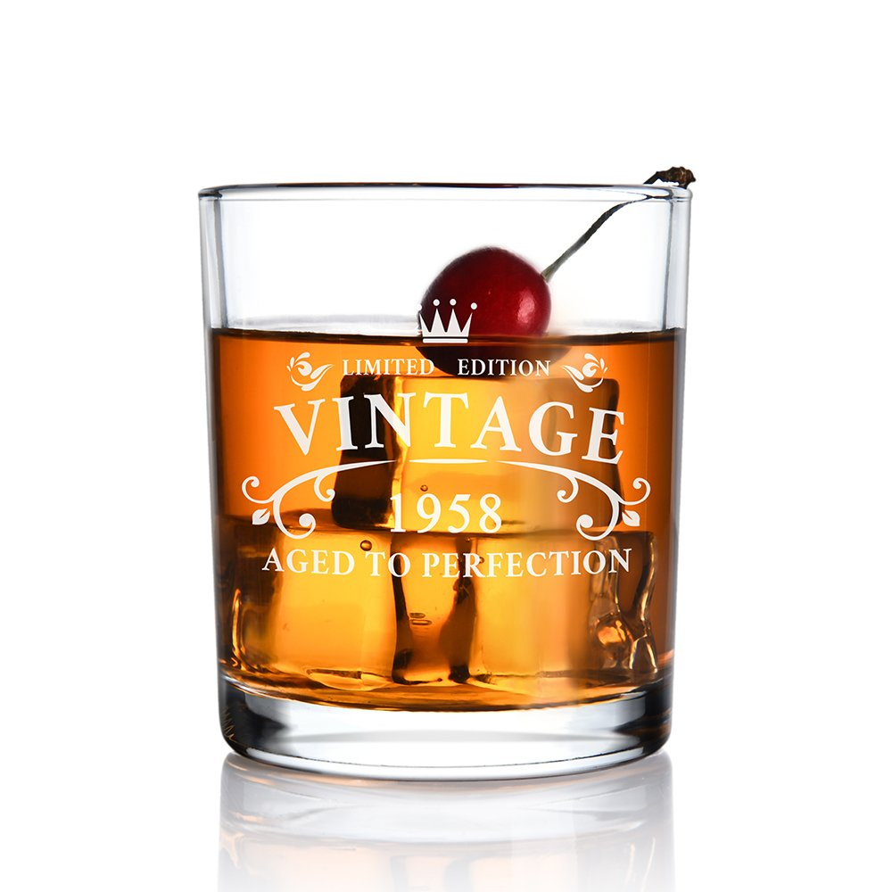 1958 60th Anniversary Birthday Gifts for Men and Women - Whiskey Glass 11 oz for Him, Her,Dad, Mom,Husband,or Wife Party Favors