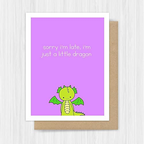 Amazon Belated Birthday Card Funny Dragon Pun Handmade Greeting