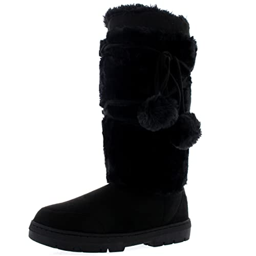 Womens Pom Pom Tall Winter Snow Winter Rain Warm Shoe Boots