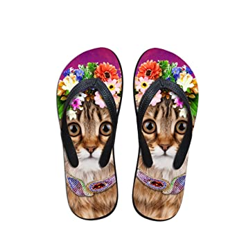 dce718a06275 Amazon.com  Dwightnight Personalized Cute Cat Wearing Flower in the ...