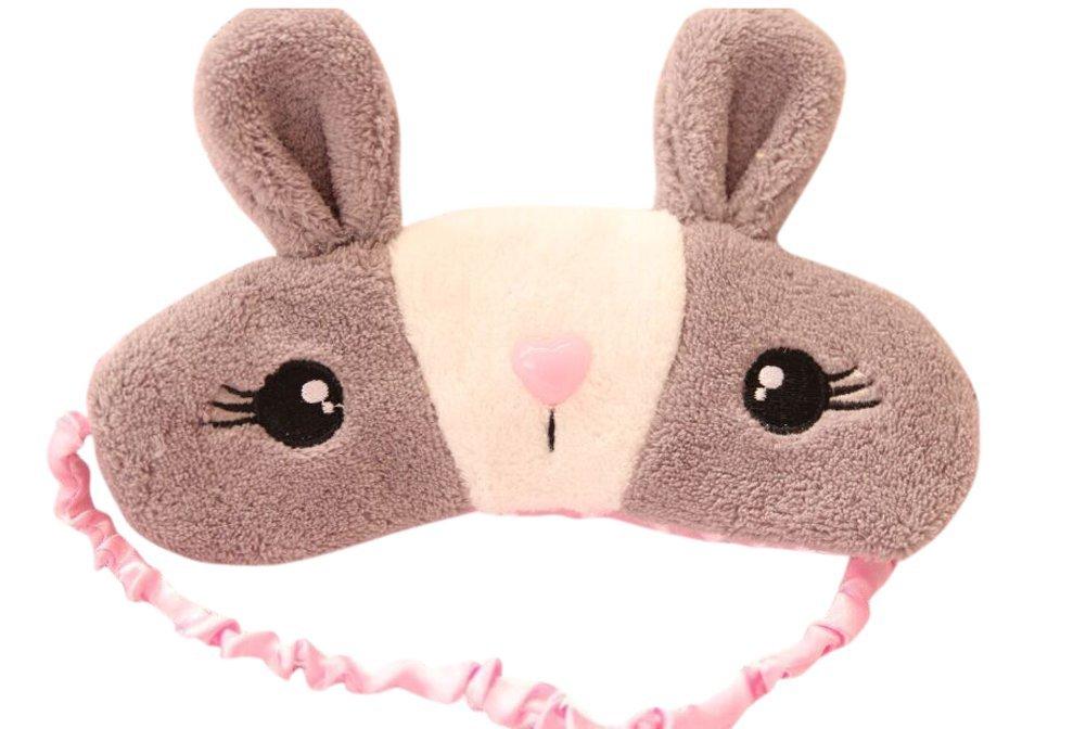Drasawee Rabbit Plush Ice Bag Stuffed Comfort Eyes Mask Sleeping Mask Grey1#