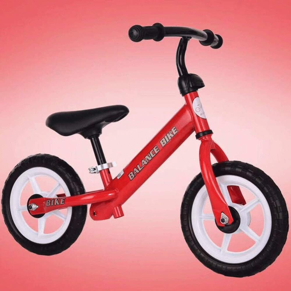 JYY Balance Bike per Bambini Telaio in Acciaio Ad Alto Tenore di Carbonio Telaio Senza Pedali per Bambini da 18 Mesi A 5 Anni, Ruote da 10 Pollici,Red