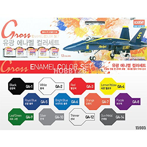 Academy Enamel - Academy Gloss Enamel Painting 12 Color Set for Plastic Model Kits #15905