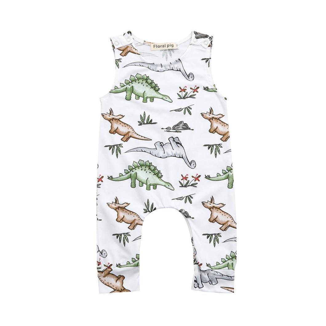 Felicy Newborn Infant Baby Boys Girls Cartoon Dinosaur Print/Blue Whales Print Romper Jumpsuit Outfits