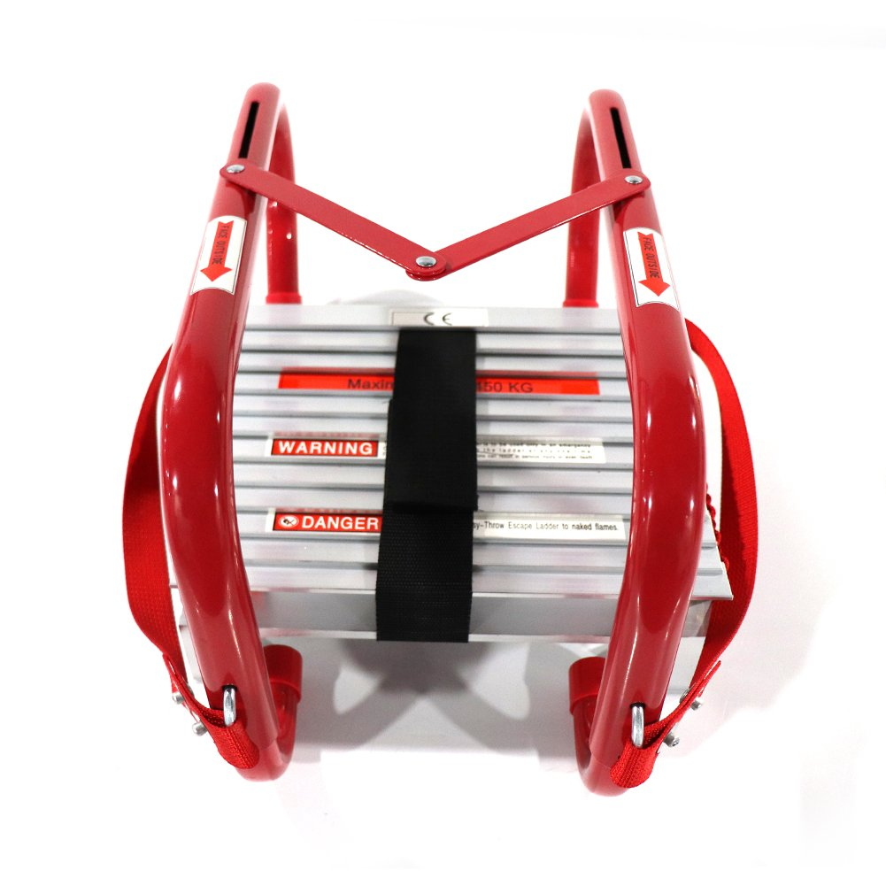 Portable Fire Ladder Emergency Escape Ladder 15 Foot with Wide Steps V Center Support