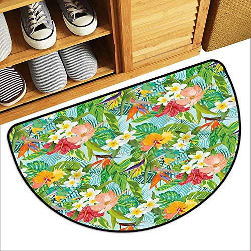 - DILITECK Washable Doormat Leaf Vintage Cartoon Style Image of Hawaiian Flowers Crepe Gingers Breathability W24 xL16 Blue Light Green Orange and Pink