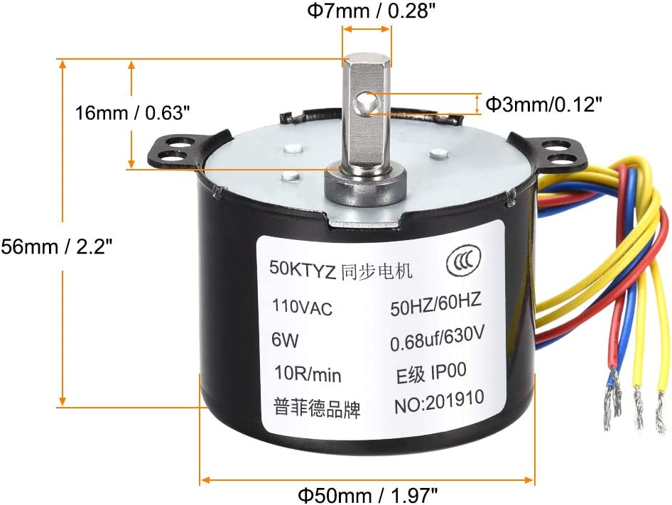 uxcell AC110V Synchronous Motor Plastic Gear Terminal 10RPM 7mm Eccentric Shaft with Hole