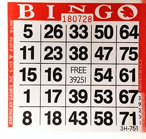 1 on Red Bingo Paper Cards - 500 cards per -