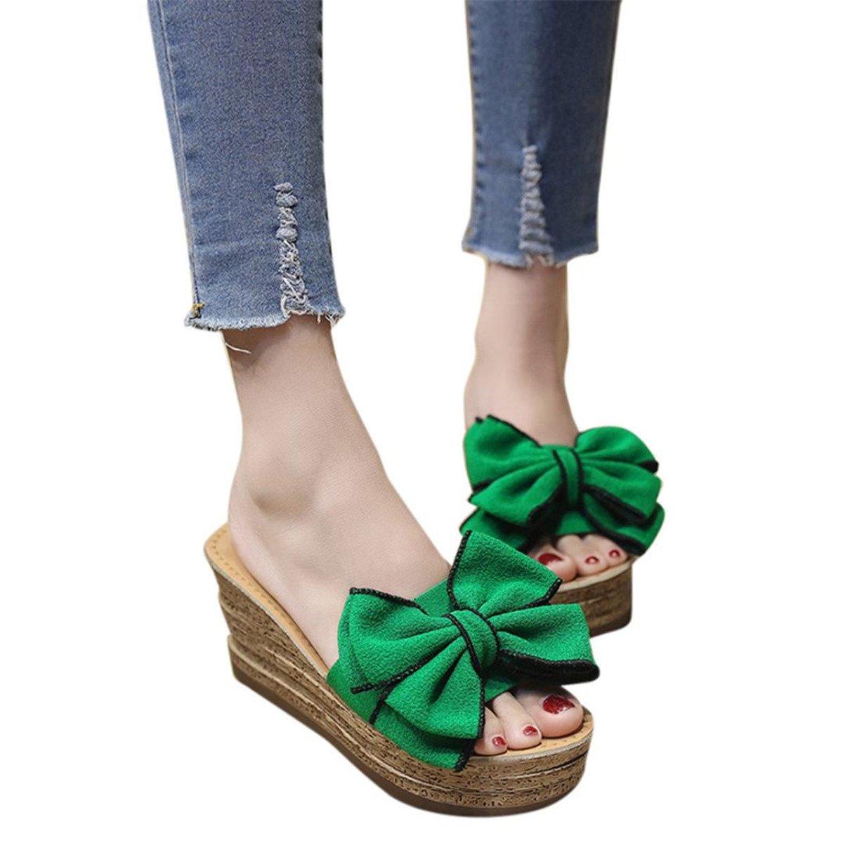 KESEELY Fashional Hight Heels Slipper Women Bow Wedges Slipper Sandals Kitten Heels Shoes For Summer (US:8.5, Green)