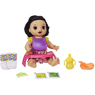 Baby Alive Happy Hungry Baby Black Straight Hair Doll, Makes 50+ Sounds & Phrases, Eats & Poops, Drinks & Wets, For Kids Age 3 & Up: Toys & Games