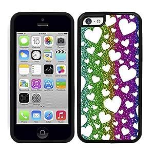 Funda carcasa TPU (Gel) para Apple iPhone 5C estampado corazones efecto purpurina de colores borde negro