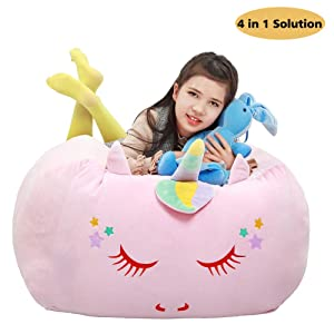 Unicorn Stuffed Animal Toy Storage,Large Size Storage Bean Bag 24x24 Inch Velvet Extra Soft Stuffie Organization Replace Mesh Toy Hammock for Kids Toys Blankets, Towels & Clothes Household Supplie