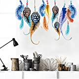 The New Color Feather Creative Bedroom, Living Room Removable Waterproof Backdrop Stickers