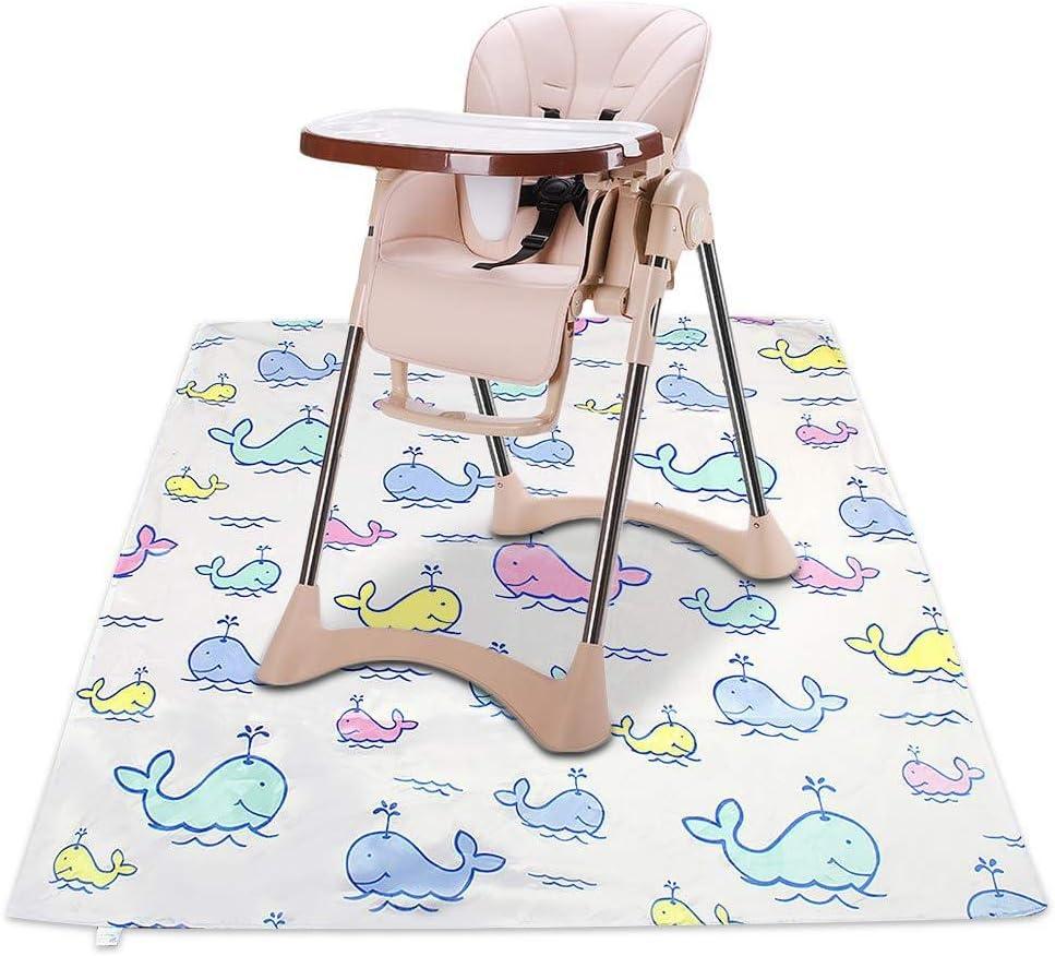 lavable impermeable Alfombrilla para trona de beb/é de 43 pulgadas ballena beb/é protector de mesa