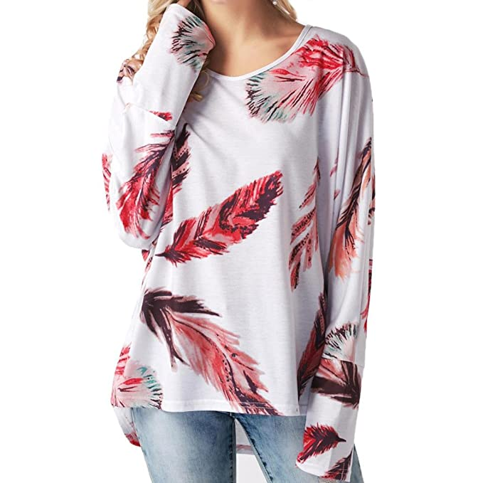 LHWY Mujeres De ImpresióN De Plumas De Manga Larga Camiseta O-Cuello Jersey Blusa Tops