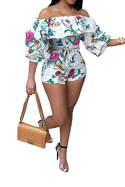 23d27ca3fe22 Amazon.com  Women Sexy Off Shoulder Ruffle Long Puff Sleeve Floral ...