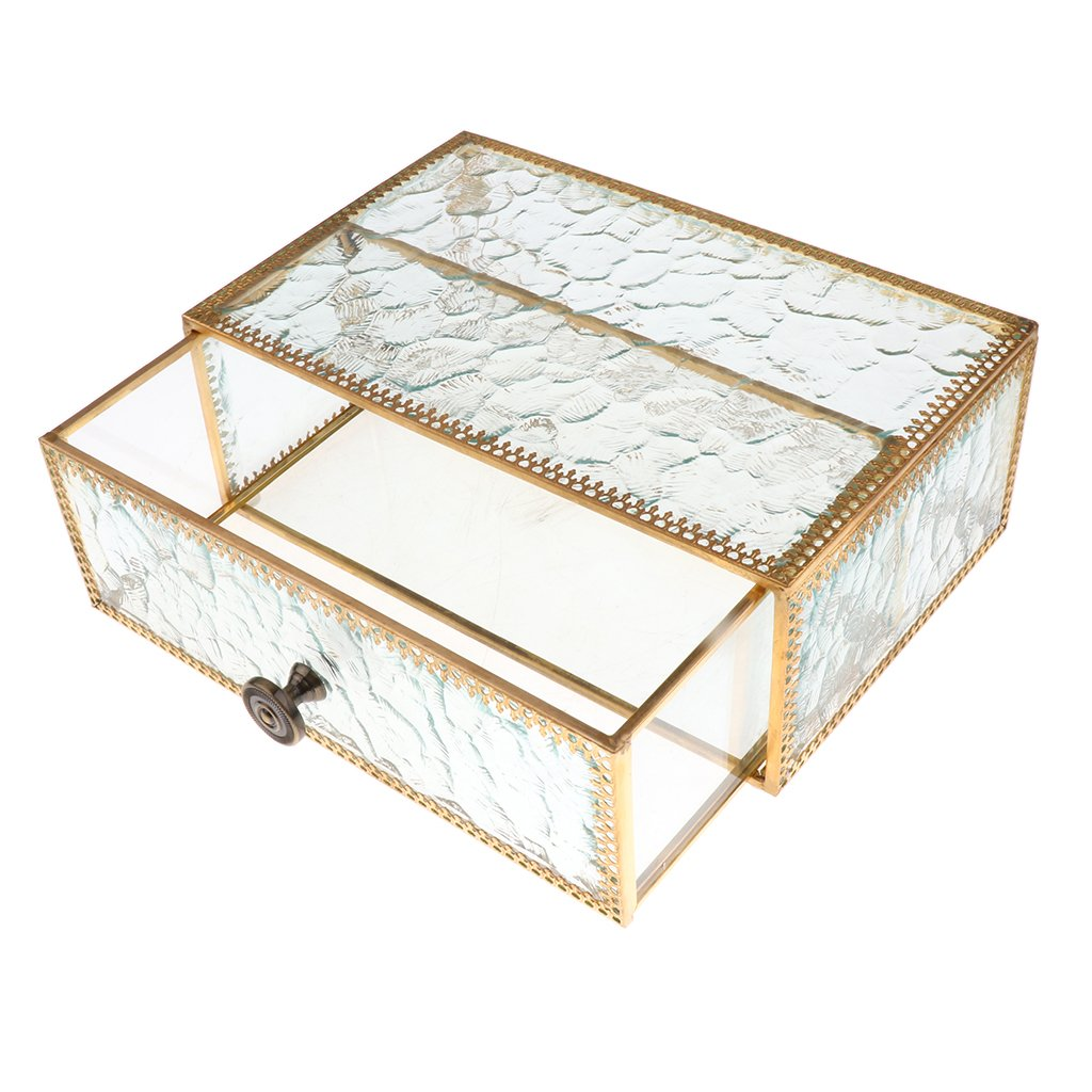 MonkeyJack Vintage Metal Border Glass Closet Jewelry Drawer Organizer Storage Box for Cuff Links, Tie Clips, Necklaces, Brooches, Rings, Glasses, Makeup, Cosmetic 22x14x8cm - Gold