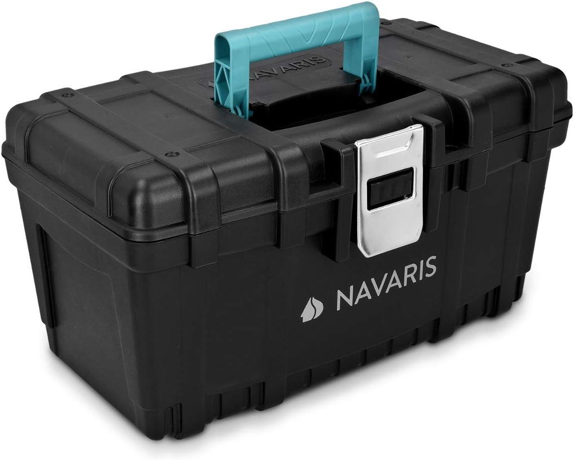 Navaris caja de herramientas de plástico - Organizador con 1 cierre de acero y capacidad 19L - Maletín para herramientas de bricolaje con asa